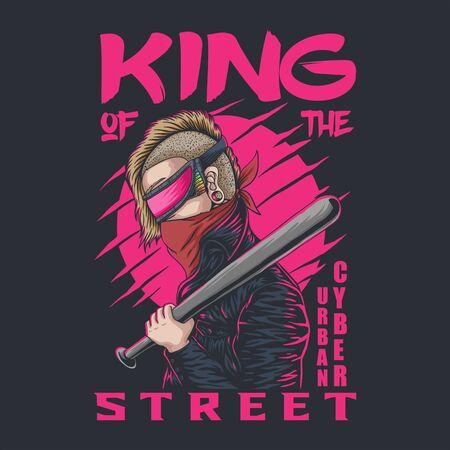 Cyber Urban king of the street vector illustration 일러스트