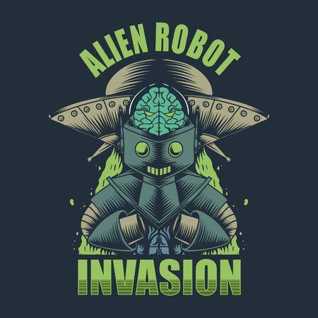 Alien Robot invasion vector illustration Ilustración de vector