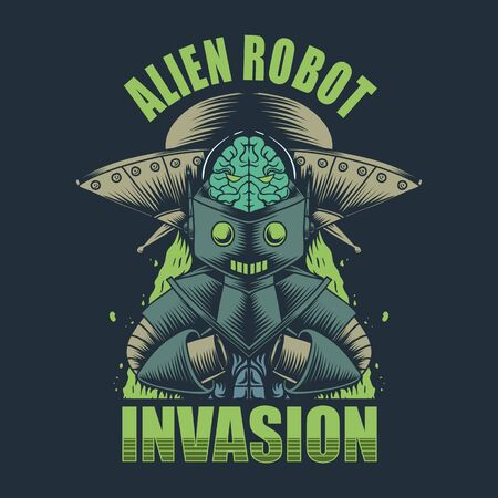 Alien Robot invasion vector illustration
