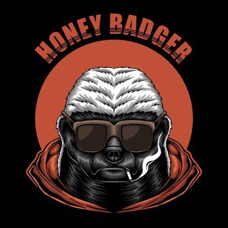 Honey badger eyeglasses vector illustration