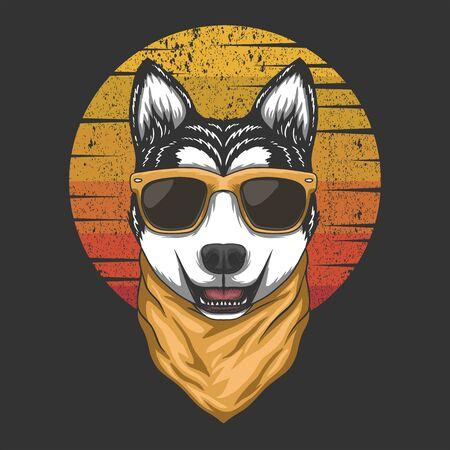 Husky sunset retro vector illustration
