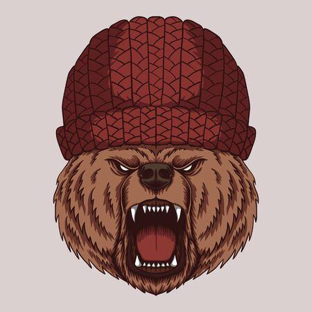 Angry bear head vector illustration Vettoriali
