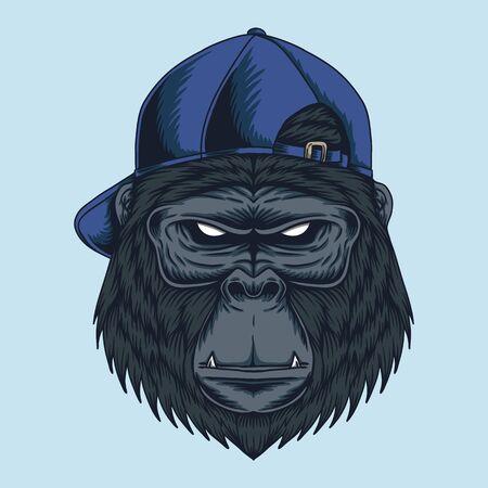 Gorilla head Cap vector illustration