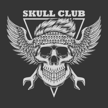 Skull club Biker vector illustration