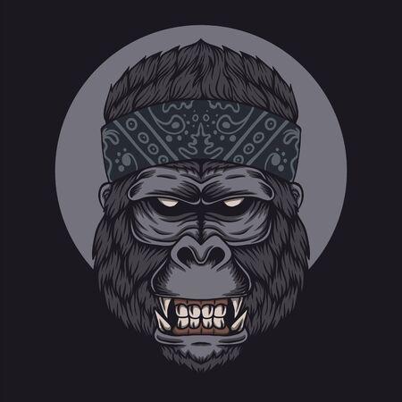 Gorilla head bandana vector illustration Illustration