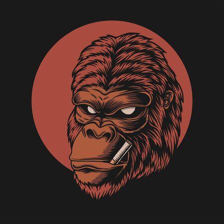 Gorilla head smoke vector illustration Illustration