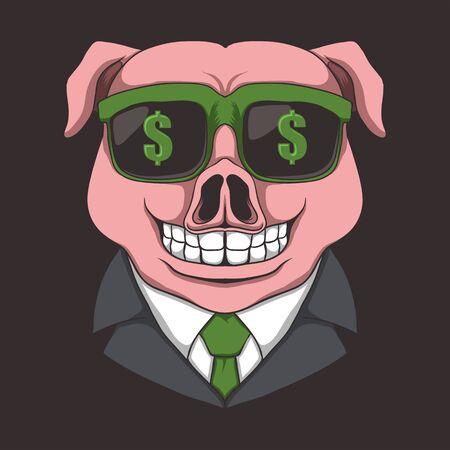 Pig eyeglasses dollar vector illustration