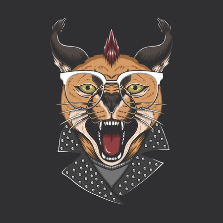 Caracal cat punk head vector illustration for your company or brand