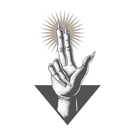 Hand in satanic vector illustration for your company or brand