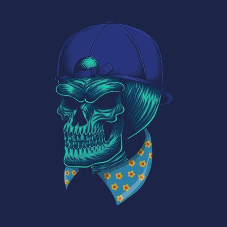 Skull head cap vector illustration for your company or brand Illustration