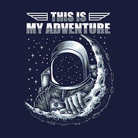 adventure astronaut vector illustration Illustration