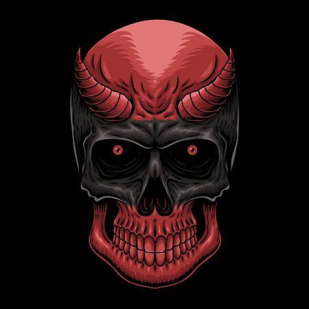Head Demon skull vector illustration Illustration