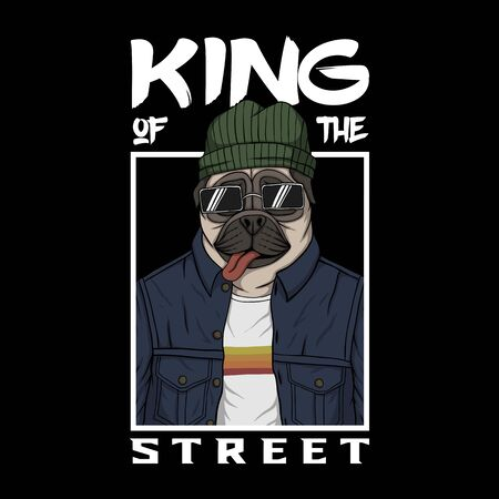 Pug dog king of the street vector illustration