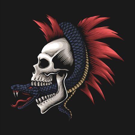 snake wrapped around skull vector illustration