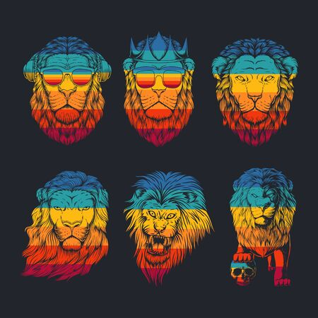 lion collection retro vector illustration