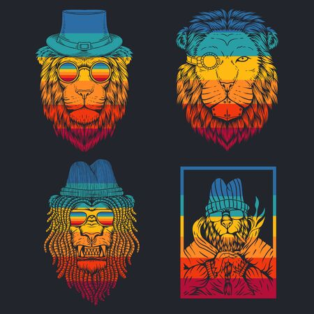 lion retro vector illustration