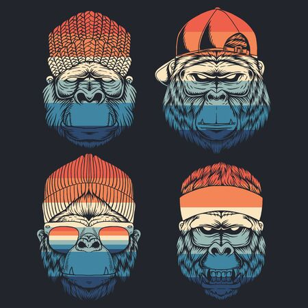 monkey cool collection retro vector illustration
