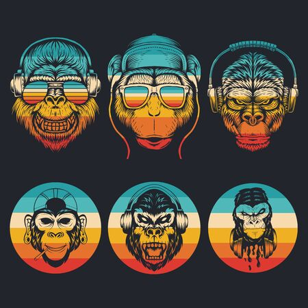 monkey music collection retro vector illustration