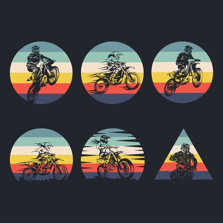 motocross collection retro vector illustration