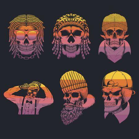 skull collection retro vector illustration