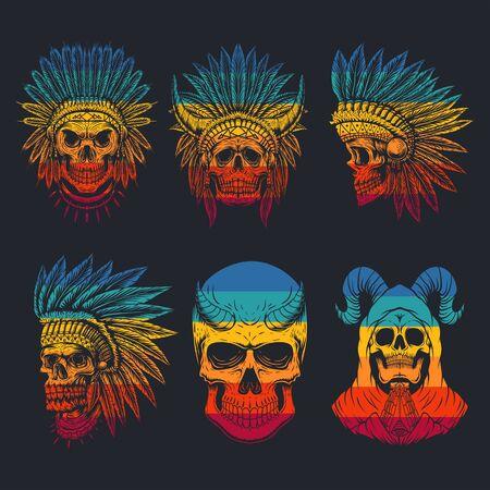 skull head collection retro vector illustration