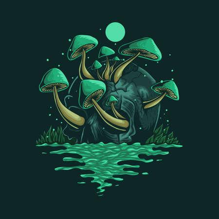 skull fungus vector illustration