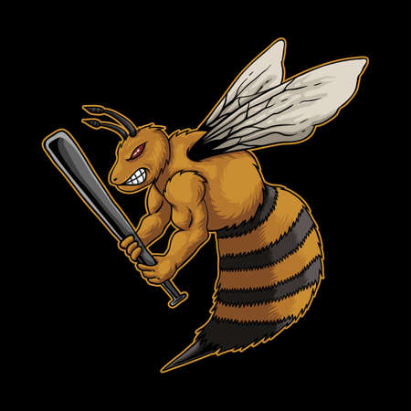 Angry bee holding sticks vector illustration Illustration