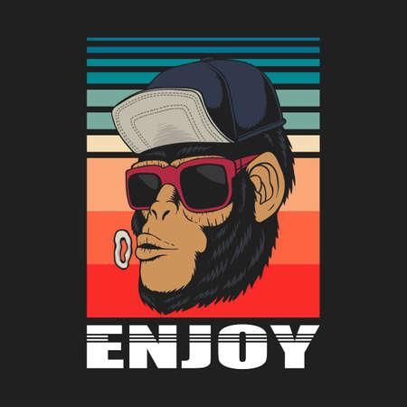 Enjoy monkey retro vector illustration