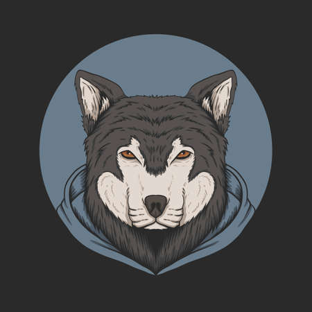 Wolf hoodie vector illustration