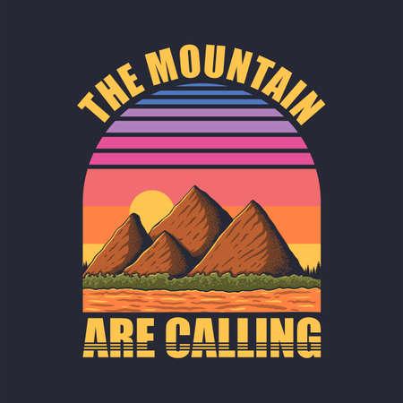 Mountain retro vector illustration