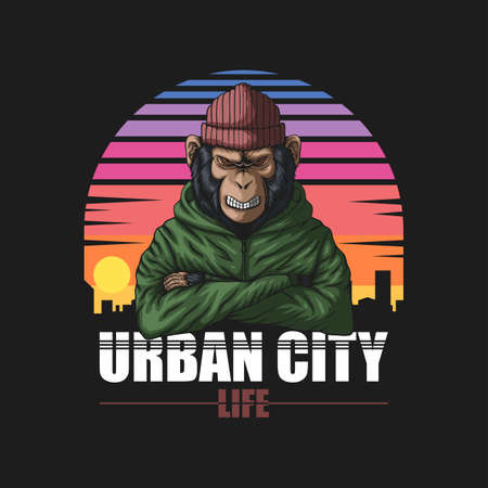 angry urban monkey vector illustration