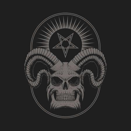 Satanic Devil Skull vector illustration