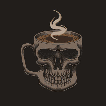 Coffee glass skull vector illustration for your company or brand