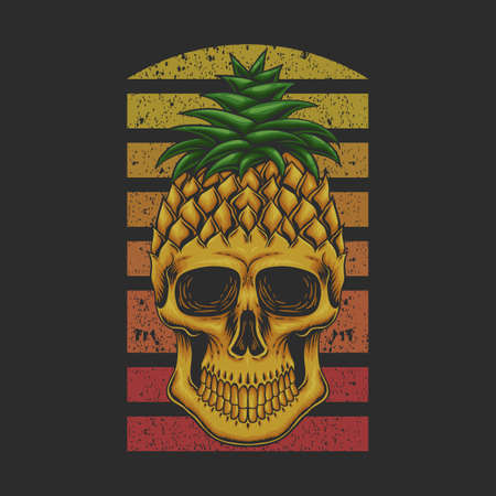 Pineapple skull vector illustration for your company or brand