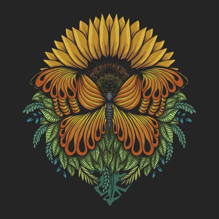 Sunflower butterfly vector illustration for your company or brand Illustration