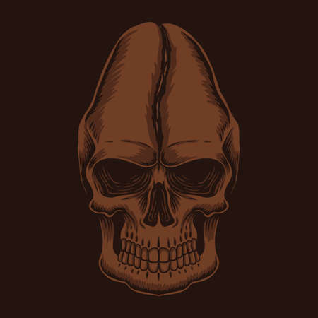 Skull head coffee vector illustration for your company or brand