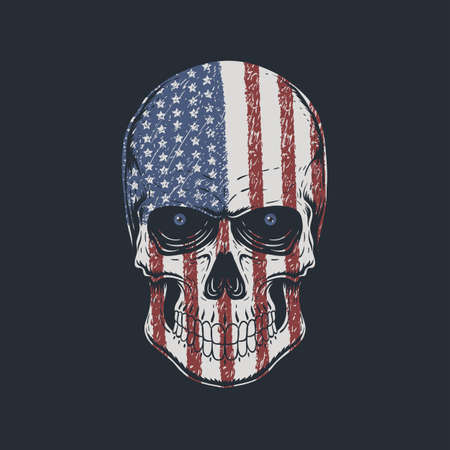 Skull head America illustration for your company or brand