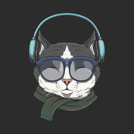 Cat Wears headphones illustration for your company or brand Illustration