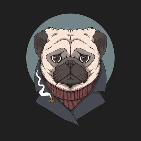 Pug dog smoke pipe illustration for your company or brand