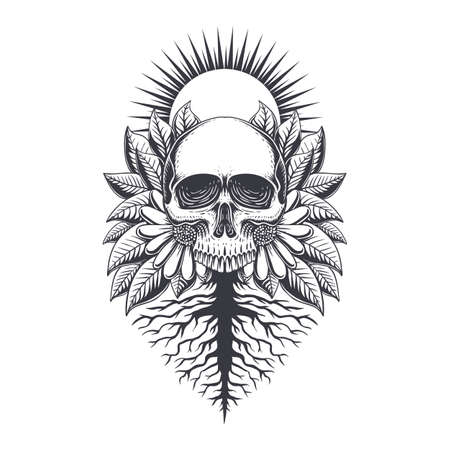 Root Skull decoration illustration for your company or brand