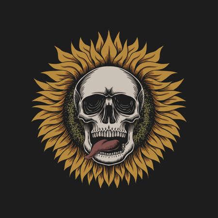 Sunflower skull illustration for your company or brand