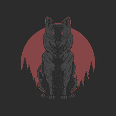 Wolf red moon illutration for your company or brand