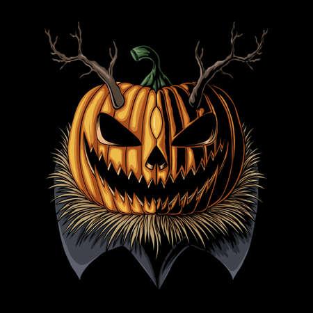 Halloween Pumpkin horned vector illustration for your company or brand Illustration