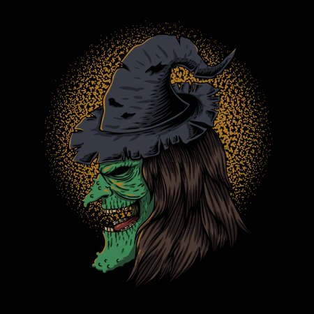 witch hide on side vector illustration for your company or brand