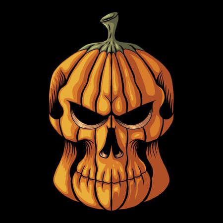 Halloween Pumpkin skull head vector illustration for your company or brand
