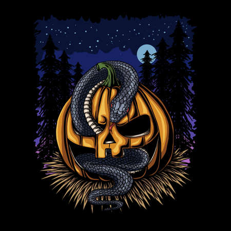 Halloween Pumpkin snake vector illustration for your company or brand Illustration