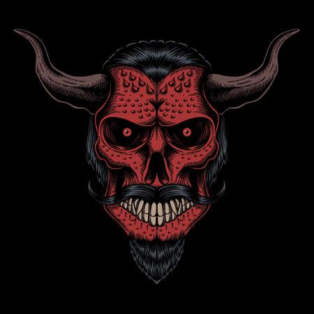 Skull head devil  vector illustration for your company or brand Illustration