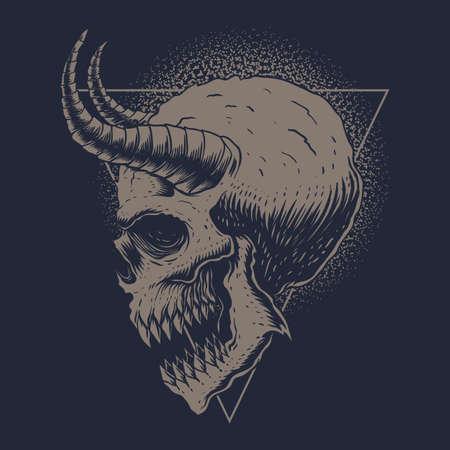 Skull Monster Horned vector illustration for your company or brand