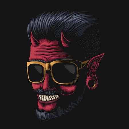 Devil man eyeglasses vector illustration for your company or brand  イラスト・ベクター素材