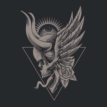 Skull horned vintage vector illustration  イラスト・ベクター素材